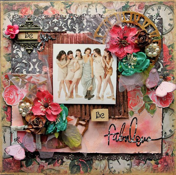 Just Listed~Reneabouquets- Be Fabulous Premade Scrapbook Page, 12 x 12,  Shabby Chic Layout
