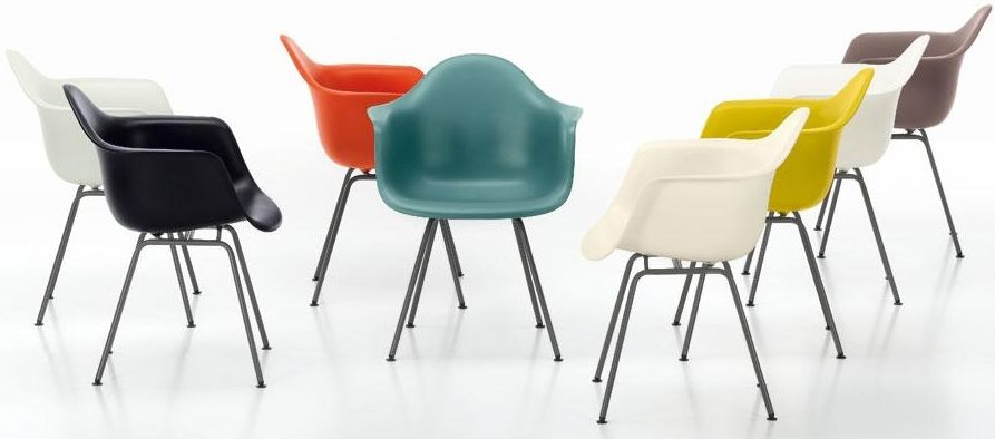 Eames Chairs in different colours.