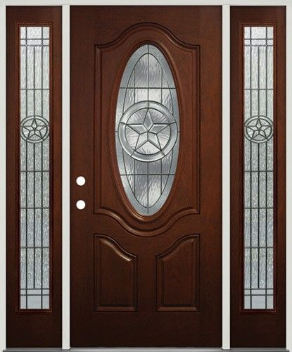 Texas Star Mahogany Finish Fiberglass Front Door With Sidelites The Look Of Wood Without The