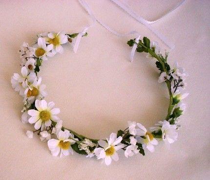 Bridesmaid Flower Festival Forehead Headband Hair Garland Vine White Daisy Bride