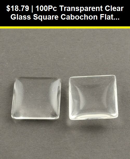 50 Glass Cabochons Square Cabochons 8mm Flat Back Pearlised Glass