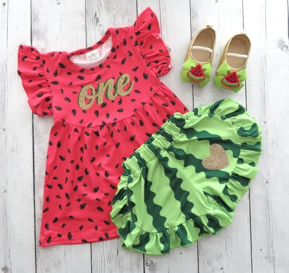 Watermelon First Birthday Outfit with shoes and bloomers/shorts -red green watermelon, one in a melon, 1st bday outfit, summer