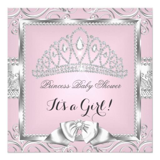 princess baby shower girl pink silver damask 5.25x5.25 square, Baby shower invitations