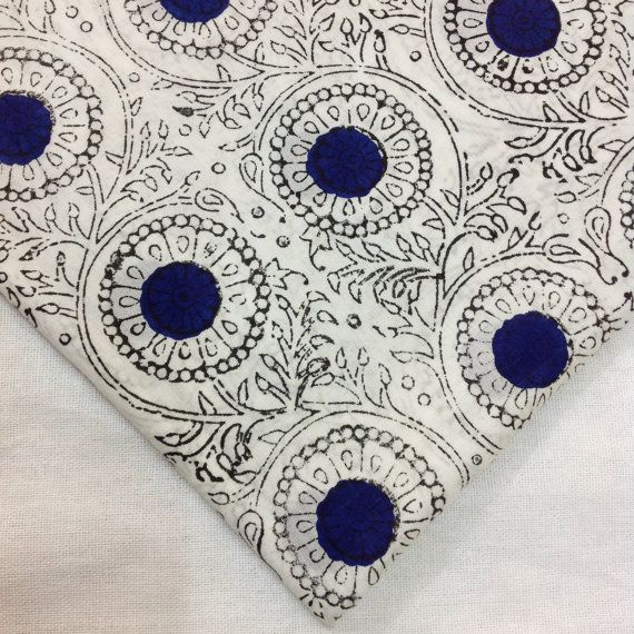 Block Print Fabric Indian Organic Cotton Indigo by DesiFabrics ...