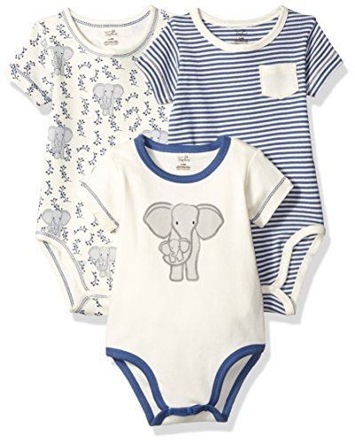 3-Pack Touched By Nature Boy Organic Cotton Bodysuits Fox
