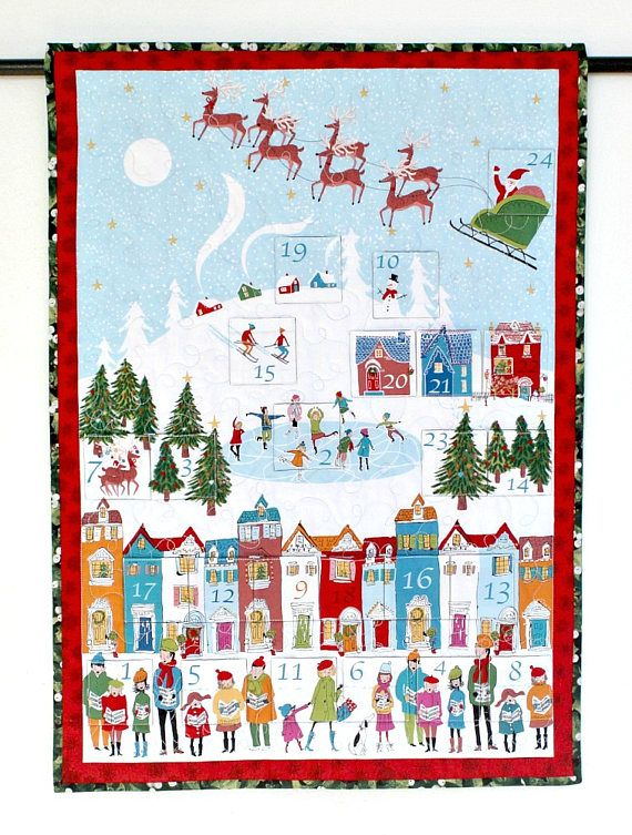 Advent Calendar Quilted Wall Hanging Christmas Wall Quilt