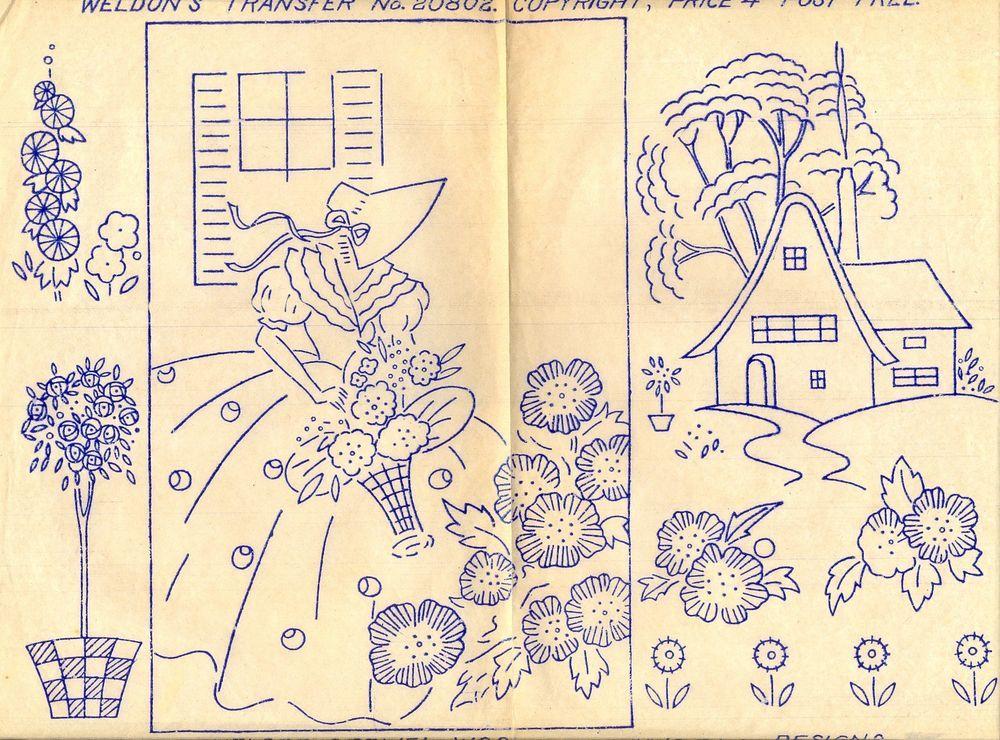 Crinoline Lady & Cottage ~ Vintage Weldons Iron-on Embroidery ...