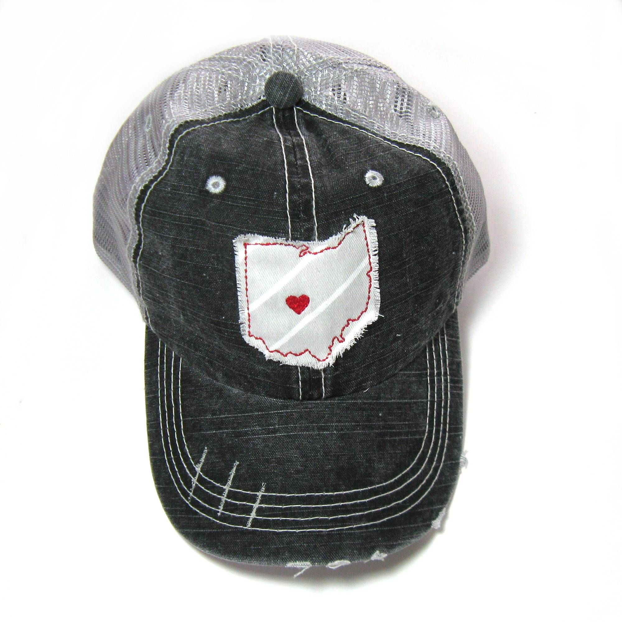 275b8fd92fb7a Black and Gray Distressed Trucker Hat - Ohio State Colors - Heart over  Columbus