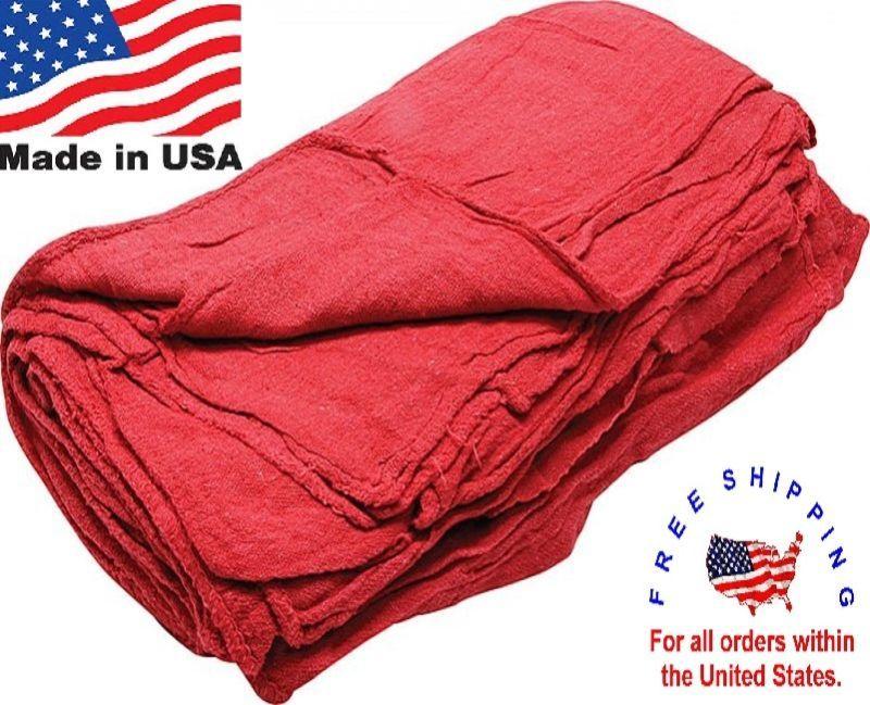 200 new great american textile mechanics shop rags towels red large jumbo 13x14