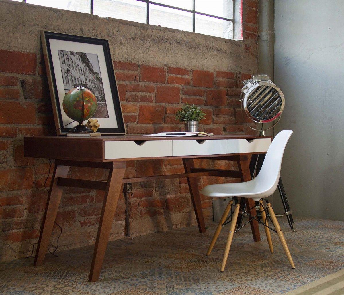 Set escritorio lamartine y silla eames blanco ve mas en for Sillas de madera para escritorio