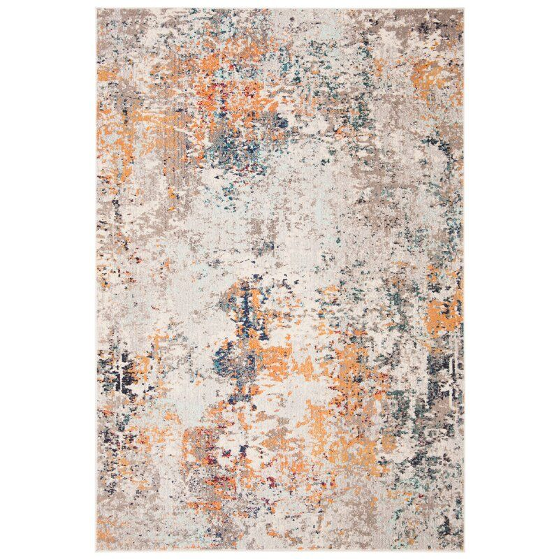 Gutierez Abstract Gray Orange Rug In 2020 Orange Area Rug