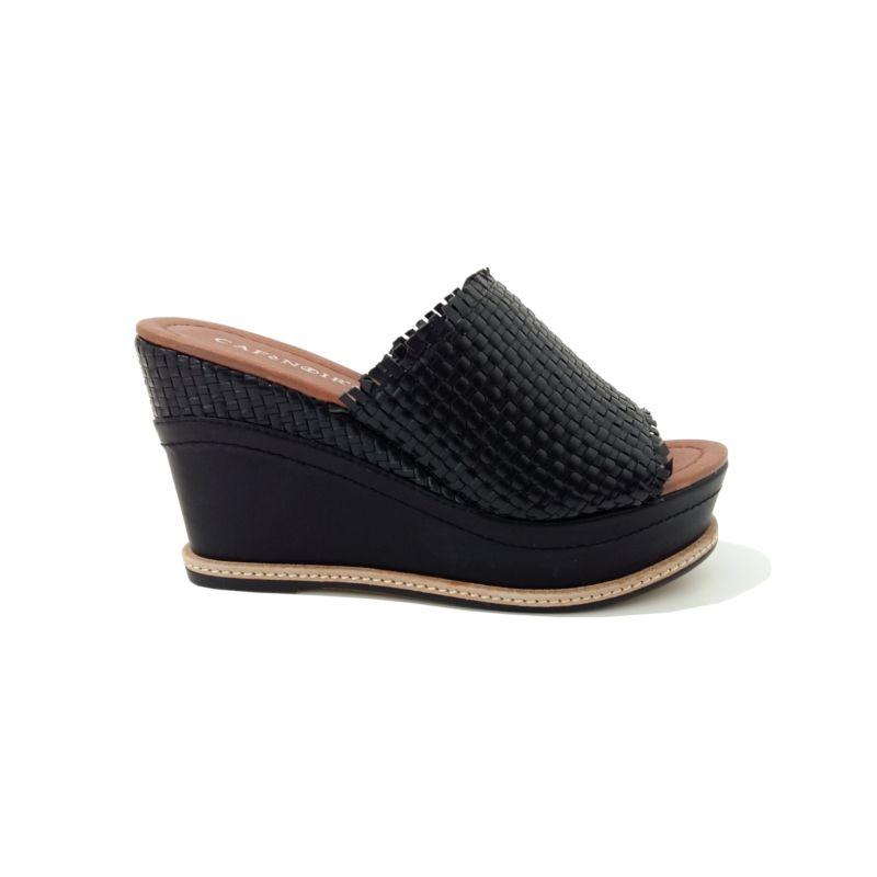 MULES Femme Compensées Noir tendance été 2018 marque CAFE NOIR. Chaussures  compensées noires tendance en