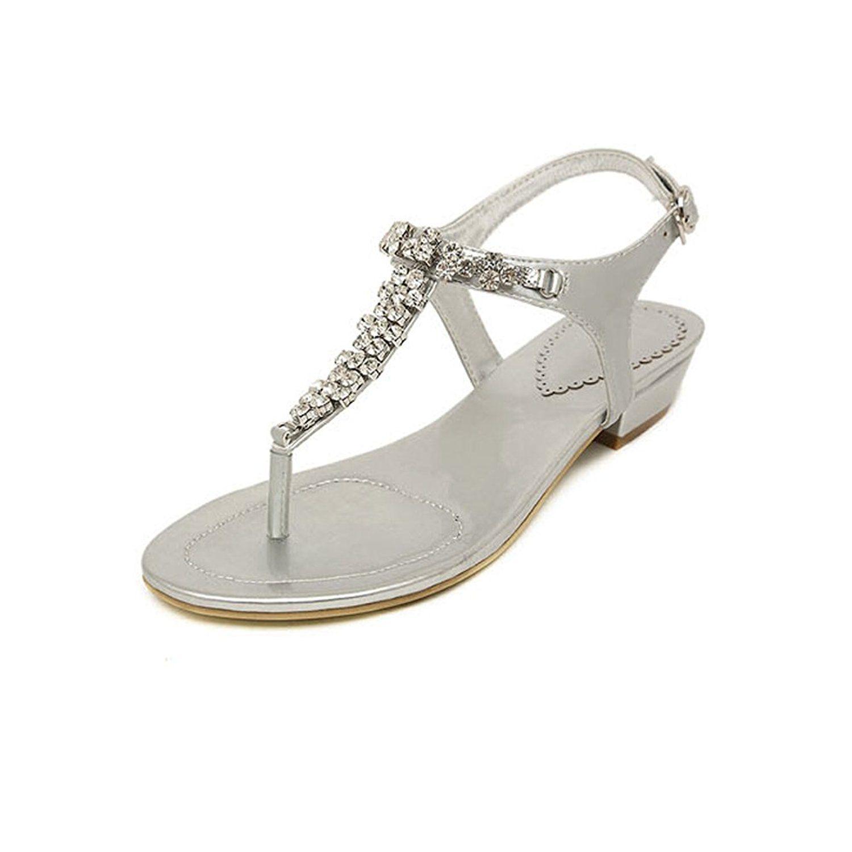 Women's Bling Crystal Rhinestone Silver Flip Flops Flat Sandals Buckle Strap