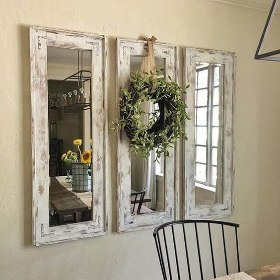 Triad of Narrow Whitewashed Mirrors Accented with Eucalyptus Wreath #kitchencollection