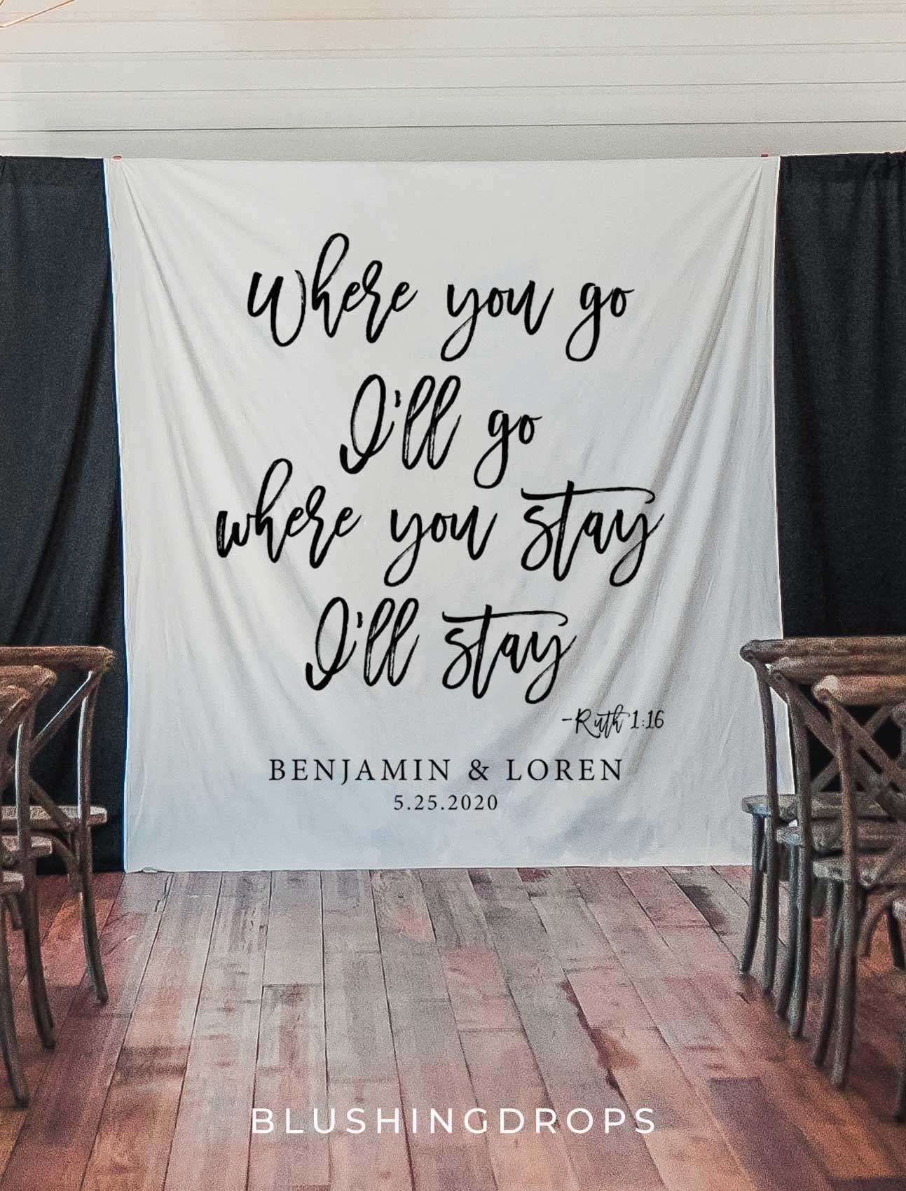 Wedding Backdrop For Reception Christian Wedding Decoration Ideas Rustic Wedding Decor Wedding Banner Backdrop Wedding Bible Verse In 2020 Hochzeitsbibel Hochzeitsbibelverse Und Christliche Hochzeiten