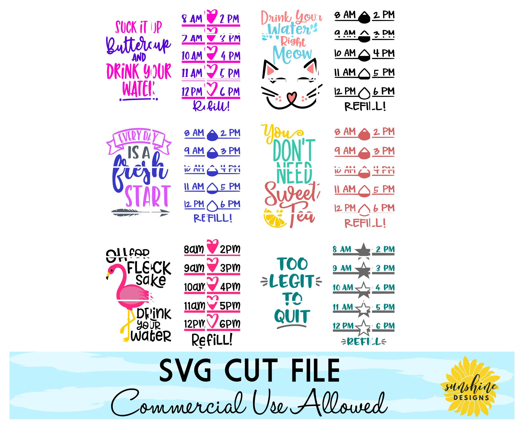 Water Tracker Svg Bundle Drink Up Buttercup Svg Water Intake Etsy In 2020 Diy Water Bottle Water Bottle Decal Cricut Vinyl