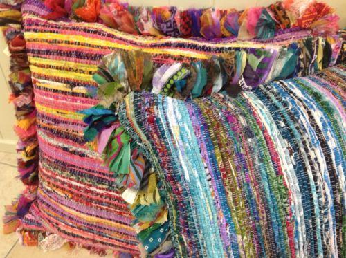 Fair Trade Multi Colour Recycled Rag Rug Gy Edge Cushion Cover 60 Cm X