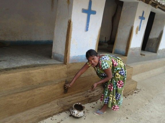 Cleaning The House With Cow Dung In India Cow Dung Is Used For