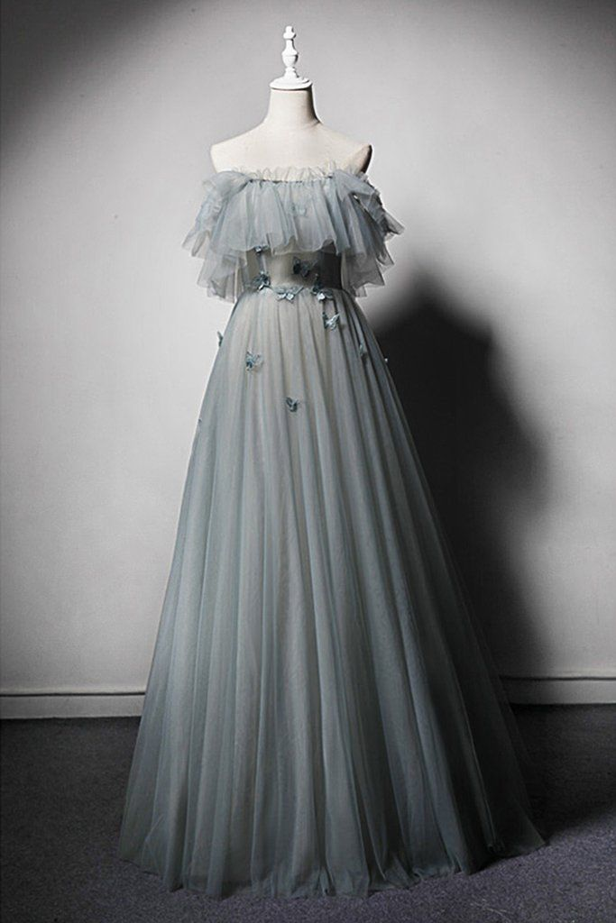 Green Gray Tulle Strapless Open Back Long Pageant Prom Dress With Applique #promthings