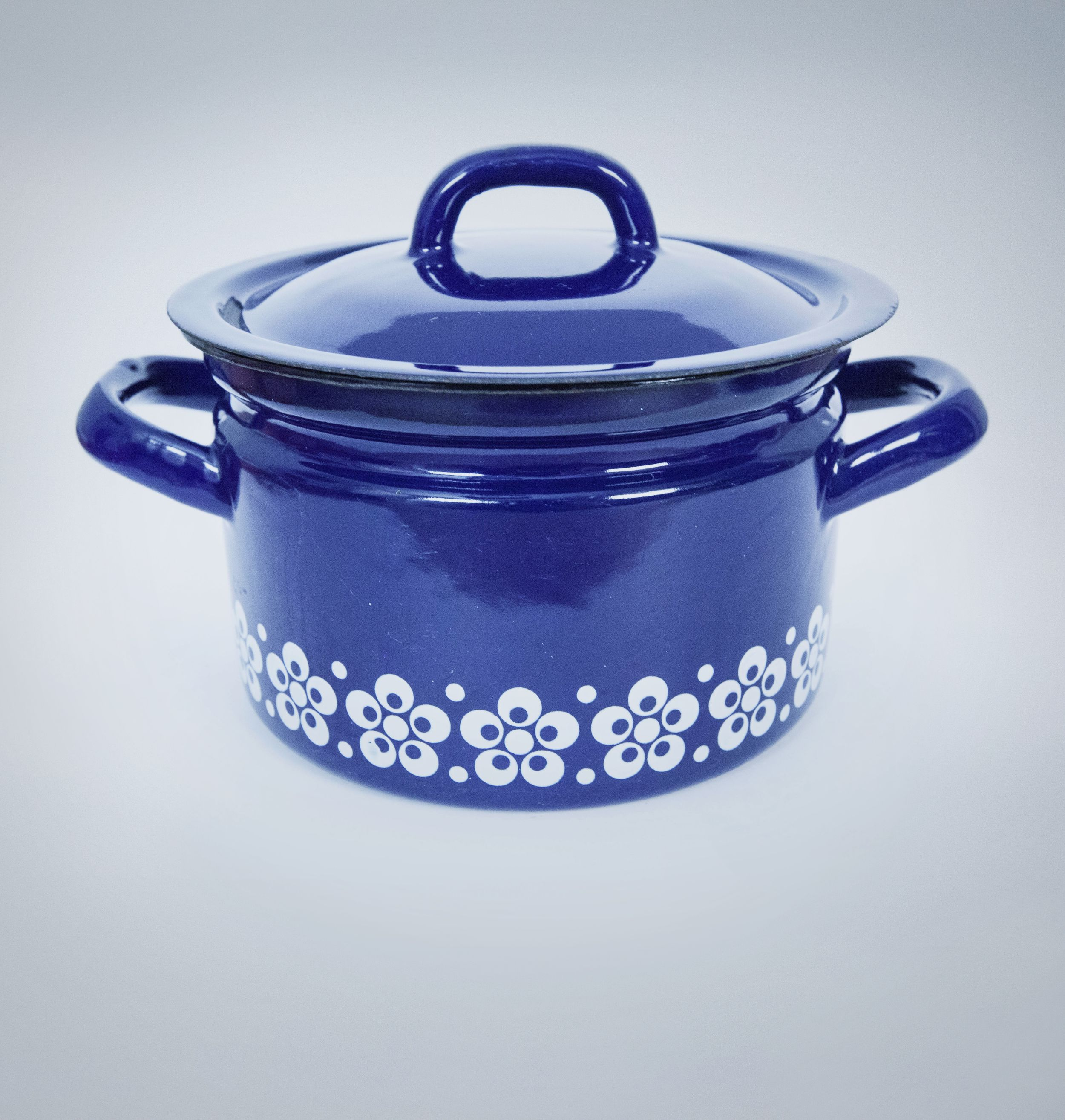 Blue Decorative Enamel Cooking Pot Yugoslavian Styling This Is A