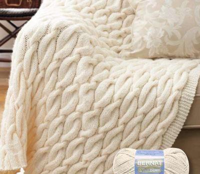 Bernat Softee Chunky Aran Cable Blanket Knit Crochet