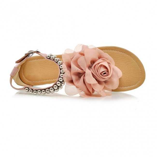 Flower Thong Sandals With Beads Pink