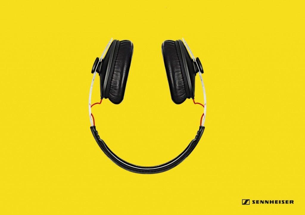 Sennheiser Headphones Smiley Gute Werbung Printwerbung Kreative Werbung Gute Werbung