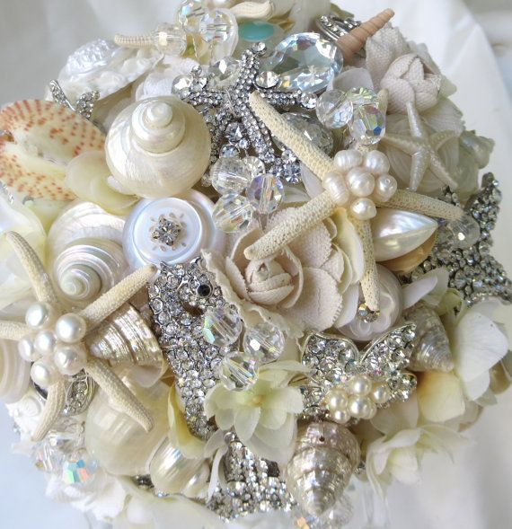 ivory sea shell bouquet wedding bouquet brooch bouquet seashell