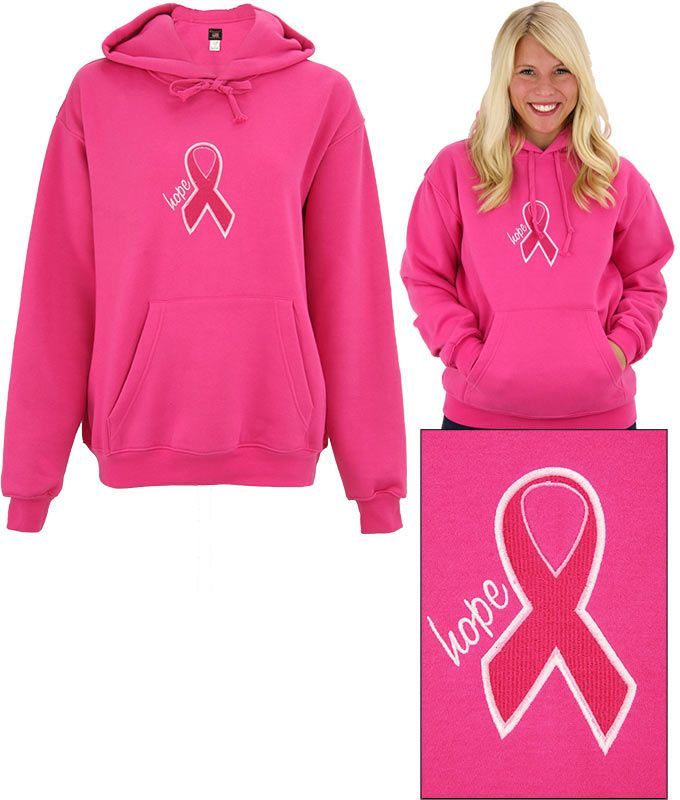 Embroidered Hope Pink Ribbon Hooded Sweatshirt at The Breast ...
