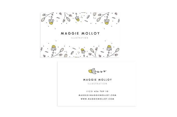 Floral Border Business Card Template Cards Branding