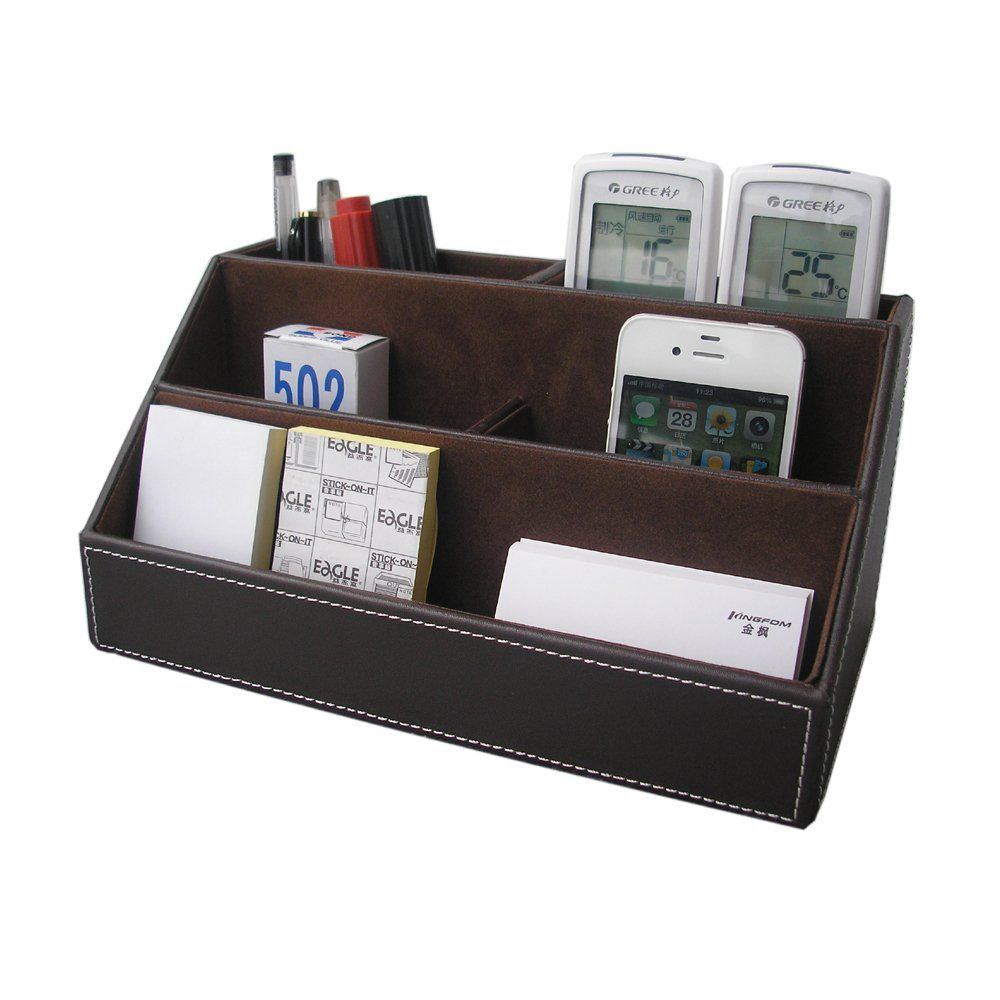 Amazon Com Kingfom Home Offfice Wooden Struction Leather Multi Function Desk Stationery Organi With Images Desk Stationery Stationery Organization Remote Control Holder