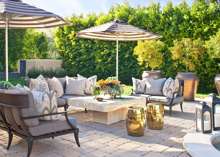 Jeff Andrews Design: Khloe Kardashian   Stunning Patio With Restoration  Hardware Klismos Classic Sofas .