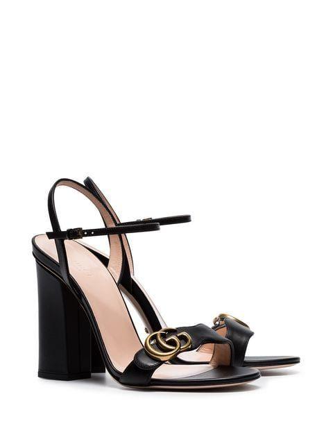 f02b775bf78 Gucci Marmont 110 Chunky Heel Leather Sandals - Farfetch