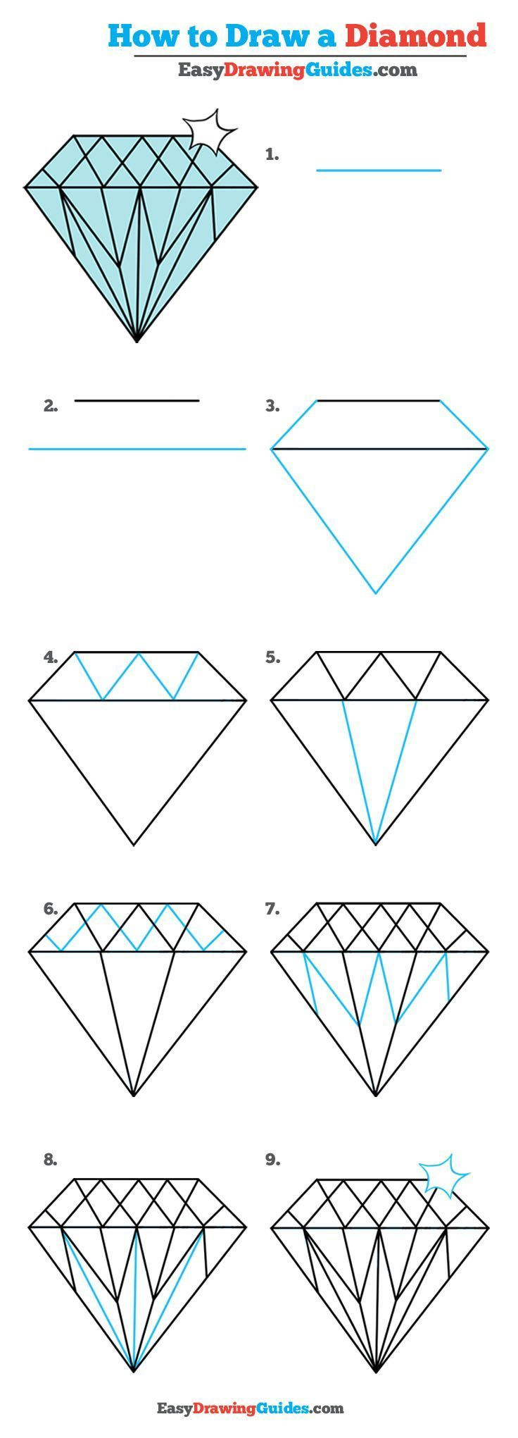 How to Draw a Diamond - Really Easy Drawing Tutorial ...