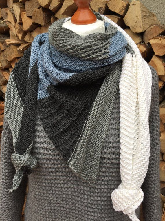 Photo of Knitted scarf made of merino wool