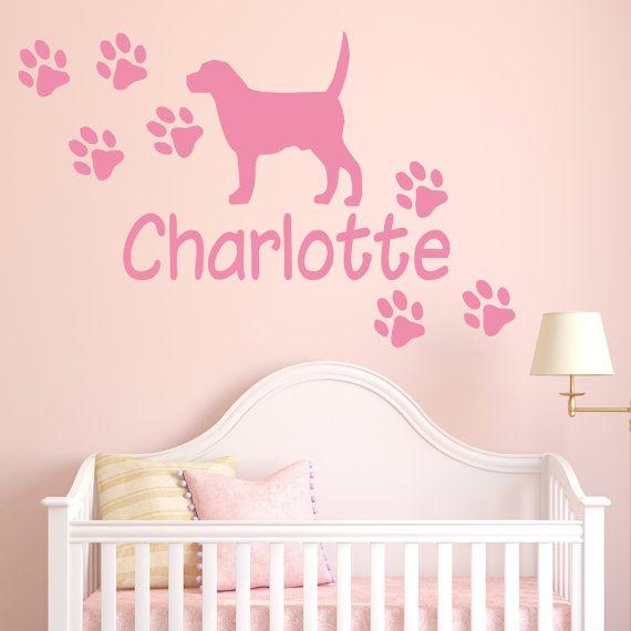 Personalised Dog Paw Print Name Wall STICKER Custom Boys Bedroom - Custom vinyl wall decals dogs