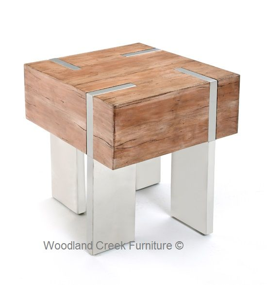 A Linear Roach And Generously Over Sized Top Design Give Our Wood Block End Table Modern Rustic Or Soft Eal Four Stainless Steel Legs