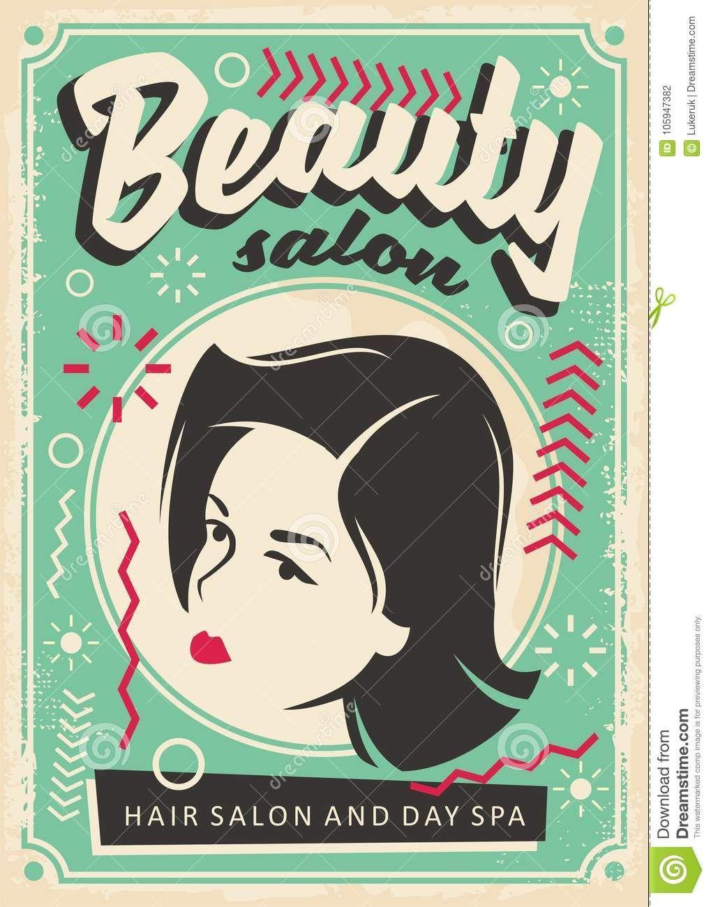 fd55fe63f33 Beauty Salon Retro Poster Design Stock Vector - Illustration of hairstyle,  graphic: 105947382