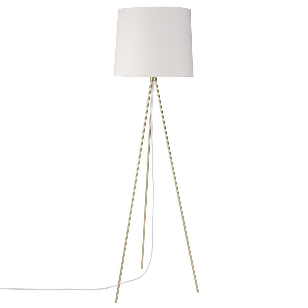 Dreifuss Stehlampe Aus Metall Mit Lampenschirm Aus Weisser Baumwolle