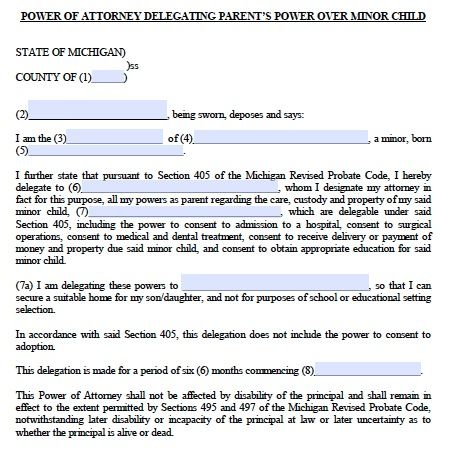 Free Minor Child Guardianship Poa Michigan Form – Pdf - Power Of
