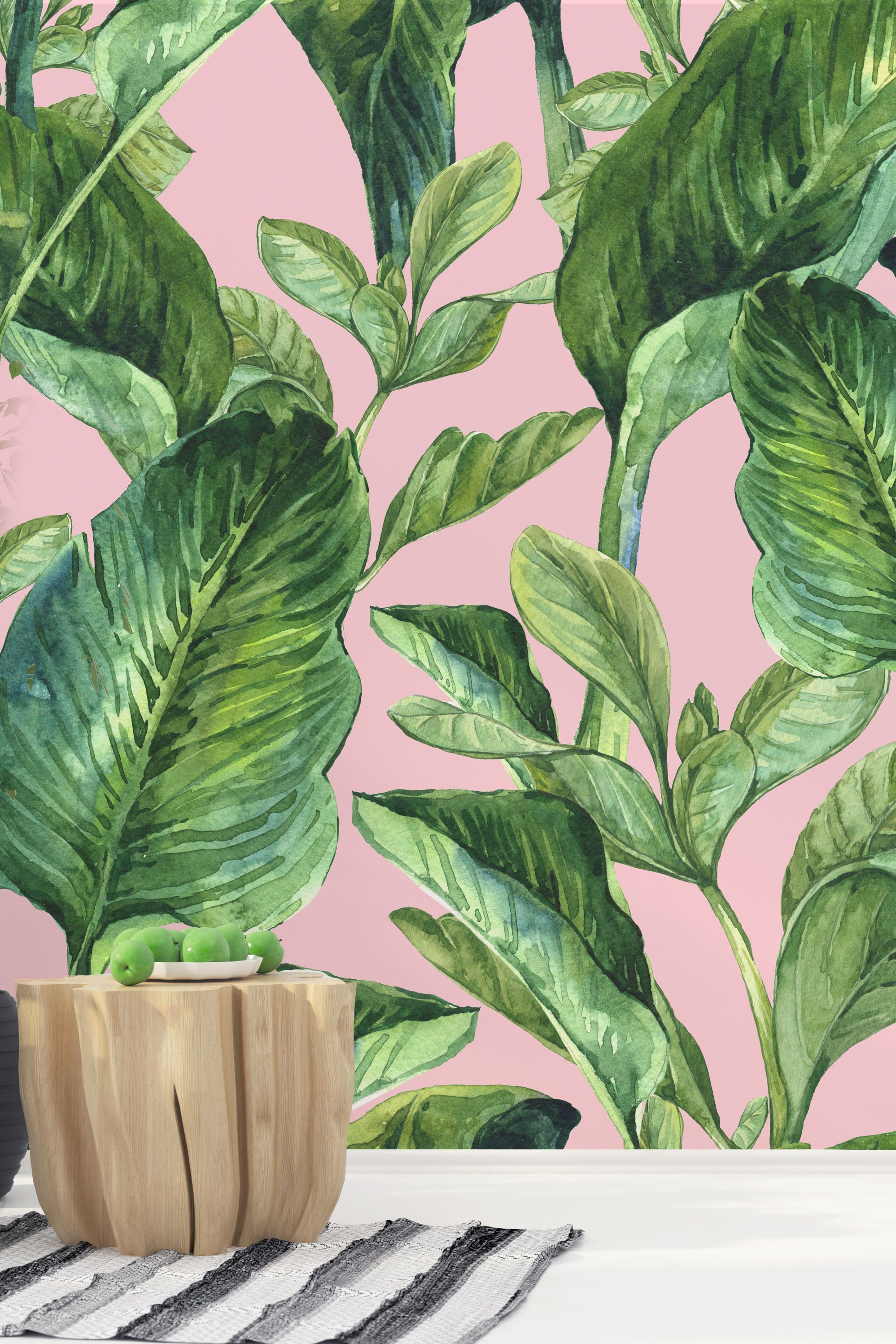 Banana Leaves Pink Wallpaper in 2020 Pink wallpaper