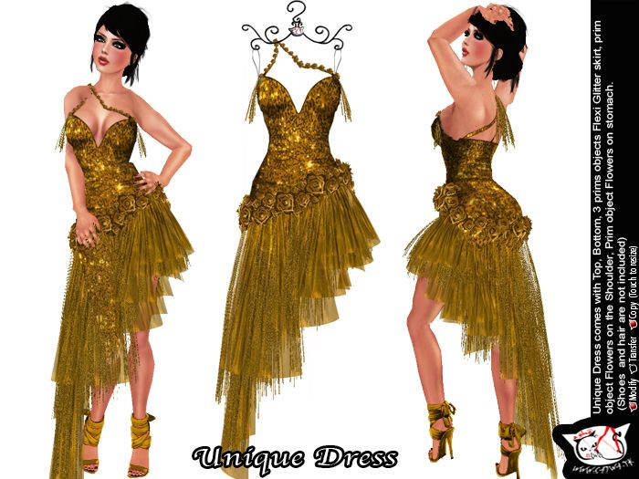 Second Life Marketplace Catwa Unique Dress Gold Fashion