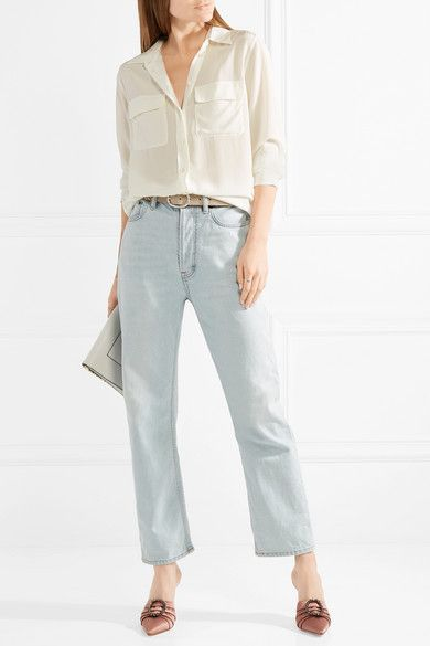 5dcc34f34737db Off-white washed-silk Button fastenings through front 100% silk Dry clean  Designer color: Nature White