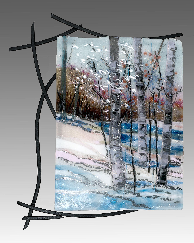 Fused Glass Wall Art: Fused Glass Wall Art With Welded Steel Frame