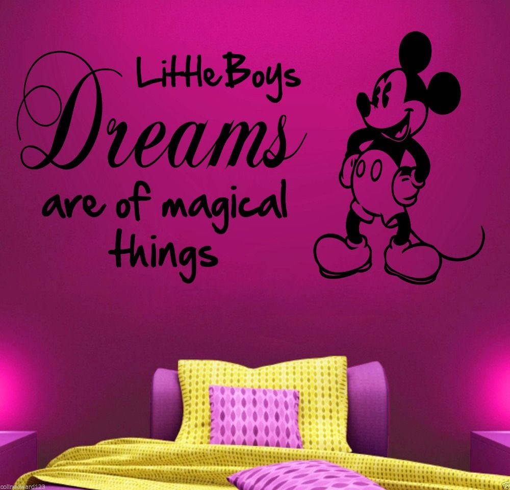 Mickey mouse vinyl wall art quote sticker boys childrens bedroom mickey mouse vinyl wall art quote sticker boys childrens bedroom little boy dreams quotes wall decals amipublicfo Image collections