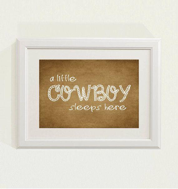 brown a little cowboy sleeps here nursery decor baby nursery art