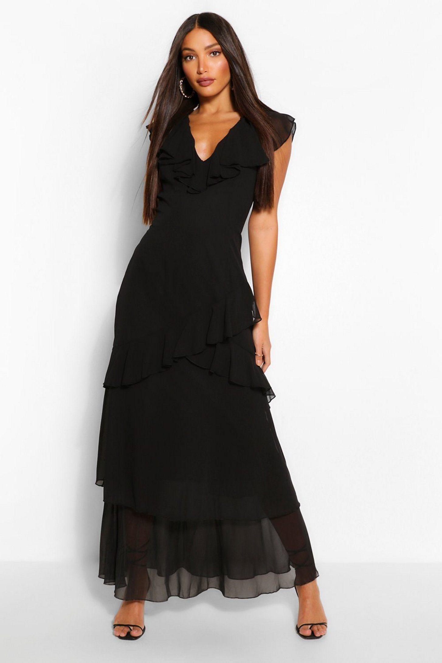 Tall Woven Plunge Ruffle Maxi Dress Boohoo Clothing For Tall Women Black Maxi Dress Maxi Dress [ 2181 x 1454 Pixel ]