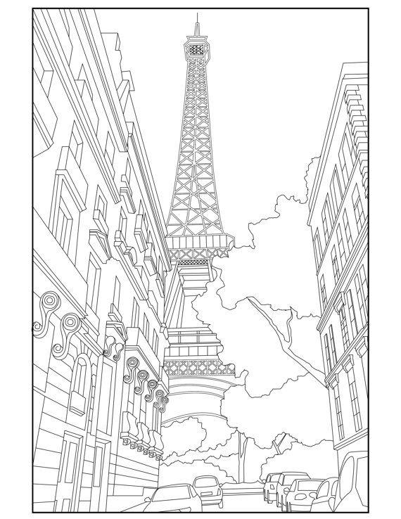 Eiffel Tower Adult Coloring Page Coloring Paris par Wandertooth
