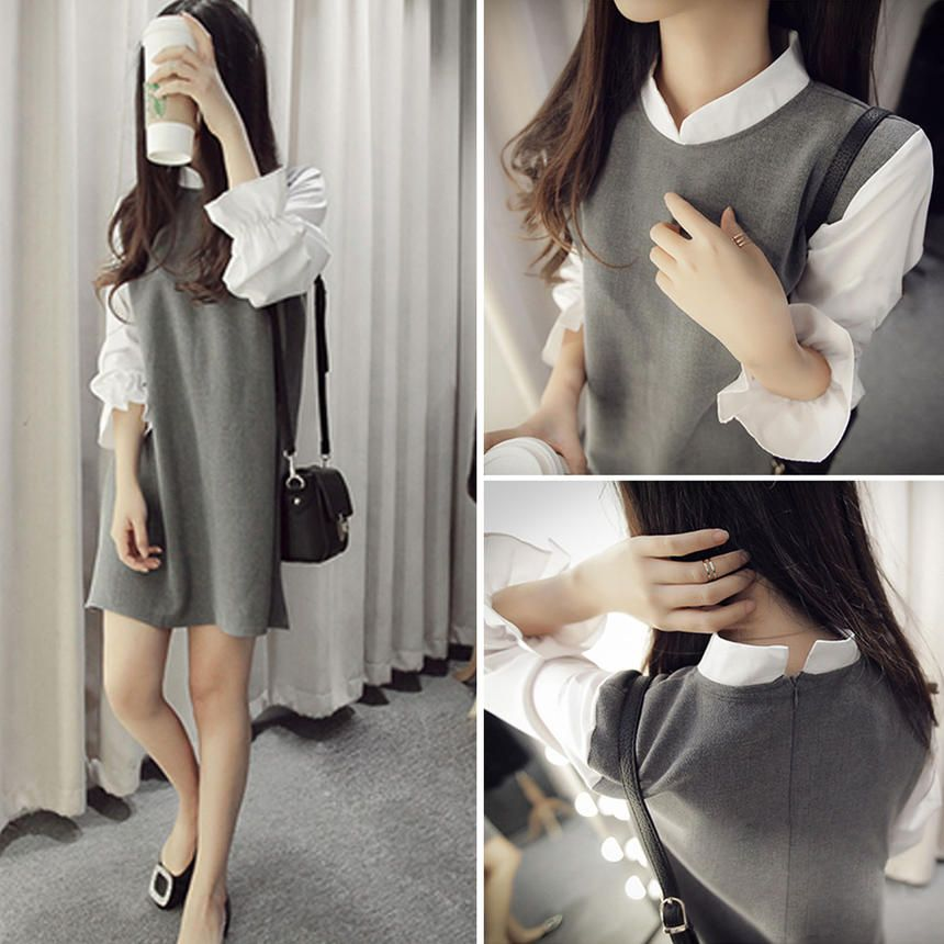 Mock Two-Piece Collared Minidress