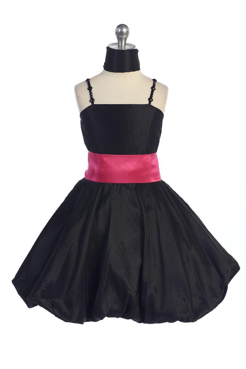 Black Taffeta Jewel Straps Bubbled Hem Shor Flower Girl Dress A3293 Bf 42 95 On Www Girlsdressline Com [ 1200 x 800 Pixel ]